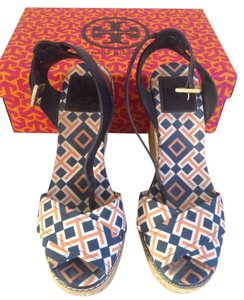 Tory Burch Multi: Navy, Orange, White Wedges