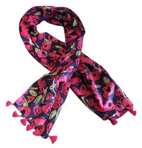 Coach Coach Scarf Wrap Floral Optic Dark Pink Navy Tassel