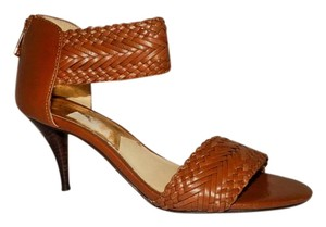 MICHAEL Michael Kors Leather Ankle Strap Brown Pumps