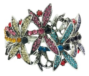 Elle Cross Elle Cross Whimsical Damselfly Bracelet! Multi-Color Czech Crystal Embellished Dragonfly's Hinged Spring Bangle 7 1/2