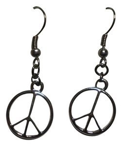 Handmade New Silvertone peace earrings