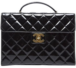Chanel Vintage Flap Briefcase Patent Quilted Satchel in Black