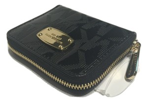Michael Kors Michael Kors Signature MK ZA Bifold Jet Set Clutch Wallet (Mirror Metallic Black)