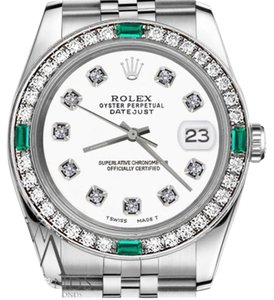 Rolex Rolex 36mm Datejust StainlessSteel White Emerald Dial with Diamonds
