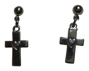 Handmade New Silvertone cross w/heart earrings