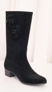 Chanel Womens Suede Black Boots