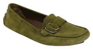 Prada Womens Suede Buckle Casual Loafers Green Flats
