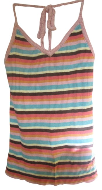 Item - Brown Pink Yellow Green Halter Top Size 8 (M)