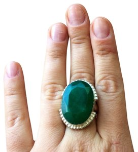 Other Huge green jade sterling silver ring handmade