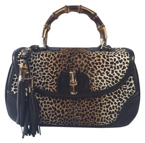 Gucci Print Pony Hair And Leather Satchel in Jaguar Print/Dark Brown