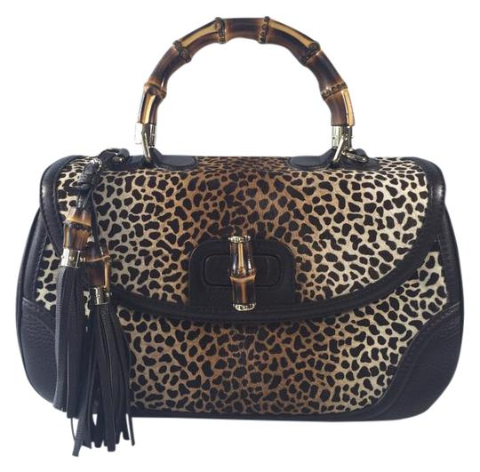 Gucci Pony Hair And Leather Satchel in Jaguar Print/Dark Brown