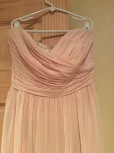 Monique Lhuillier Pale Pink Monique Lhuillier Bridesmaids Strapless Ruched Chiffon Sweetheart Gown Dress