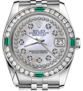 Rolex Rolex 36mm Datejust White MOP String Diamond Dial Emerald Watch
