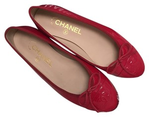 Chanel Patent Leather Red Flats
