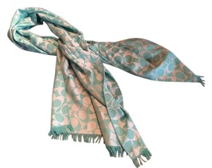 Coach Coach Wrap Scarf Signature Seafoam Mint Green