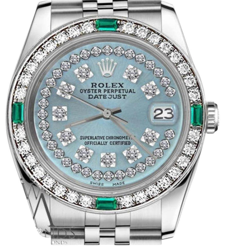 Rolex women 39 s 31mm datejust ice blue string diamond dial emerald watch tradesy for Diamond dial watch