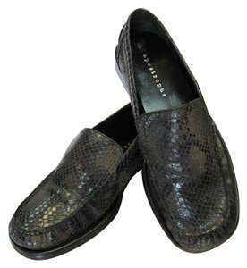 Apostrophe Very Good Condition Leather Reptile Design Size 6.50 M Black, Brown, Flats
