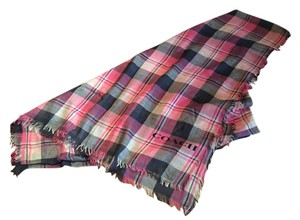 Coach Coach Wrap Scarf Square Plaid Navy Pink Ivory