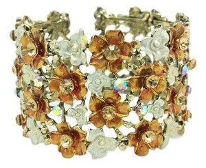 Elle Cross Elle Cross Wide Sparkling Lattice Floral Bronze, and Silver Tone Cuff Bracelet Swarovski Elements 7