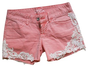Guess Lace Denim Shorts Pink