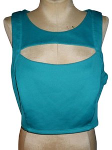 Charlotte Russe Cage Crop Cut-out Bodycon Summer Top teal