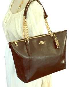 Coach Zip Leather Tote in Black
