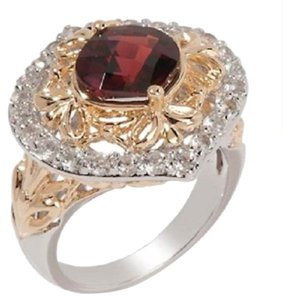 Victoria Wieck Victoria Wieck 2.97ct Garnet and White Topaz Sterling Silver and Vermeil Ring - Size 7