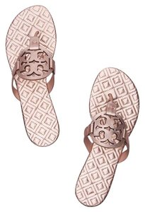 77e7047700a Tory Burch Rose Gold Marion Metallic Quilted Miller Sandals Size US ...