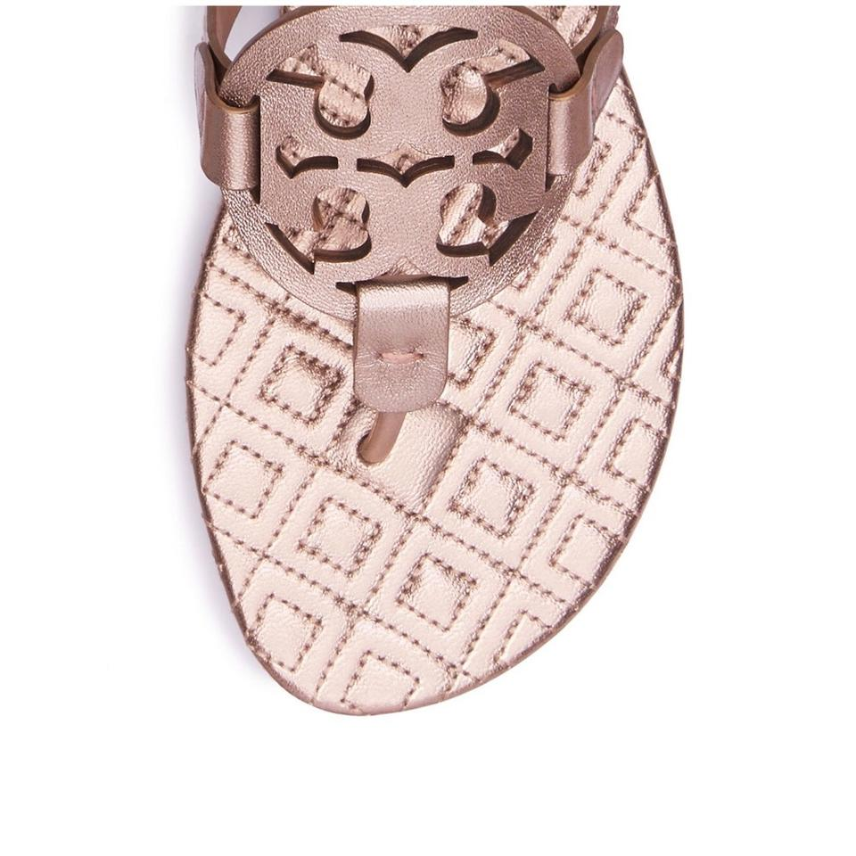 f7d9225ab Tory Burch Rose Gold Marion Metallic Quilted Miller Sandals Size US ...