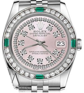 Rolex Rolex 36mm Datejust Pink String Diamond Dial Emerald Vintage Style