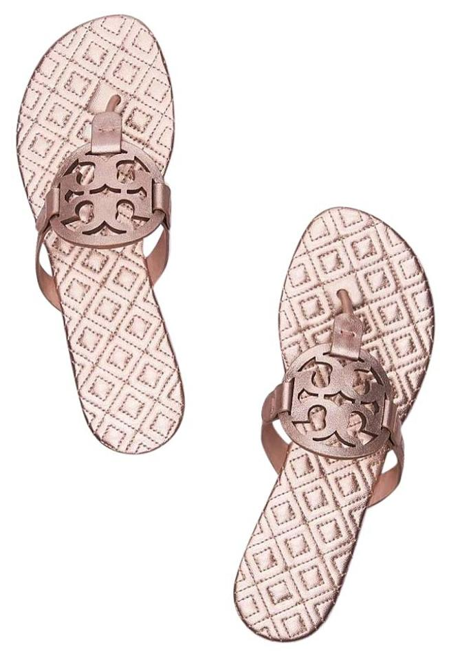 7b4514d925c56 Tory Burch Rose Gold Marion Metallic Quilted Miller Sandals. Size  US 5.5  ...