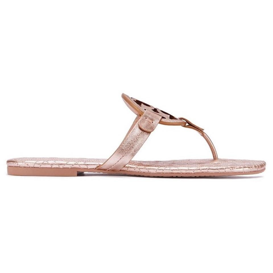 f62c8b2cbb4c0b Tory Burch Rose Gold Marion Metallic Quilted Miller Sandals Size US ...