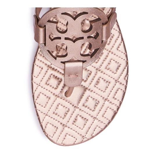 8a7521bc17384 Tory Burch Rose Gold Marion Metallic Quilted Miller Sandals Size US ...