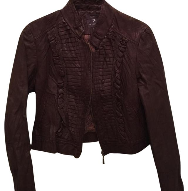 Forever 21 21 Faux Leather Cropped Brown Leather Jacket ...