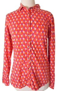 Boden Shirt Knit Hearts Button Down Shirt Coral/Purple