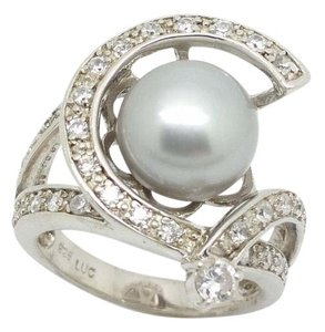 Elle Cross Elle Cross Round Silver Pearl 11mm, 2.00cttw Diamond Simulant Accented Halo Ring Size 7.5