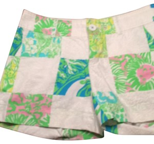 Lilly Pulitzer Mini/Short Shorts White, green, yellow, pink