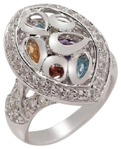 Victoria Wieck Victoria Wieck 2.14ct Multigem Sterling Silver Mosaic Overlay Marquise Ring - Size 7