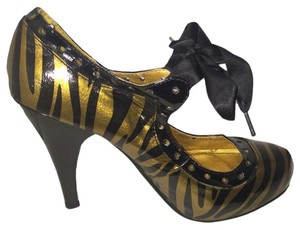 Anne Michelle And Cheetah Padded 4 Inch Heel Black & Gold Pumps