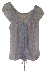 Abercrombie & Fitch Top Light Blue w/ Pink & Green Flowers