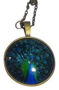 Other New Peacock Cabochon Necklace Brass Blue Green J2647