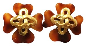 Chanel Authentic Vintage Chanel Gold Plated CC Faux Tortoise Shell Clip on Earrings