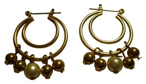 Other Faux pearls on goldtone double hoops earrings