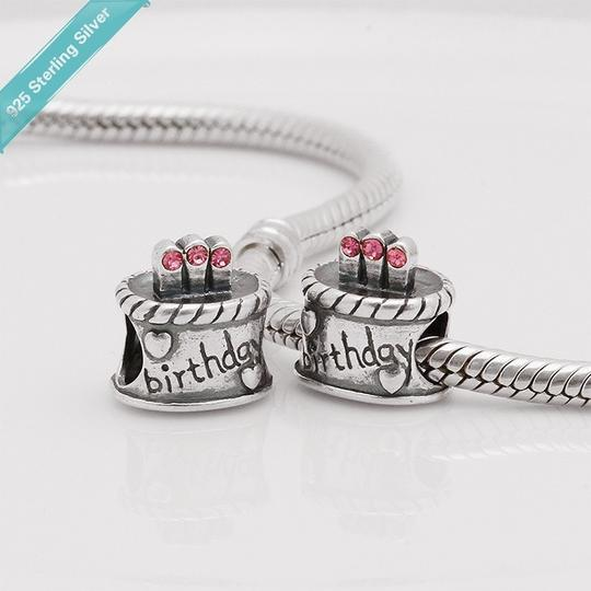 Other nwot 925 sterling silver loose beads diy charm bracelet birthday cake candel pink red princess daughter jewelry