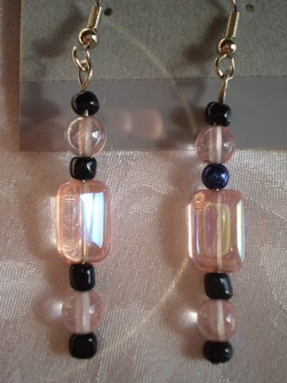 Other New black & pink beads earrings