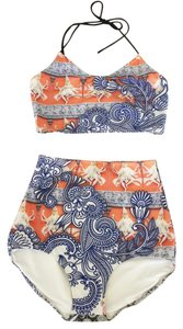 Clover Canyon Henna Vibrant Print Coral Blue Crop Top + High Rise Bottom Bikini