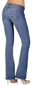 7 For All Mankind Denim. Straight Leg Jeans-Medium Wash