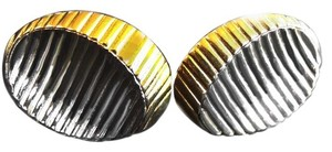 Givenchy VINTAGE GIVENCHY MODERNIST GOLD AND SILVER OP ART EARRINGS CLIP SIGNED 70'S