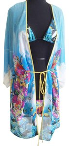 Clover Canyon Underwater Vibrant Fish Print Yellow Kaftan Swim Coverup