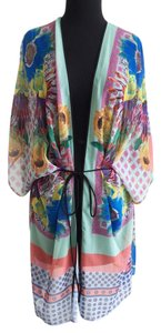 Clover Canyon Vibrant Floral Sunflower Print Yellow Blue Kaftan Swim Coverup